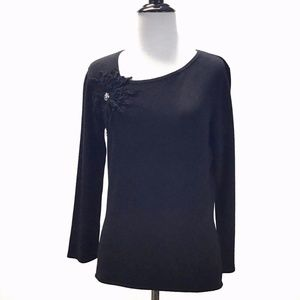 Alberto Makali Black Rhinestone Super Soft Sweater